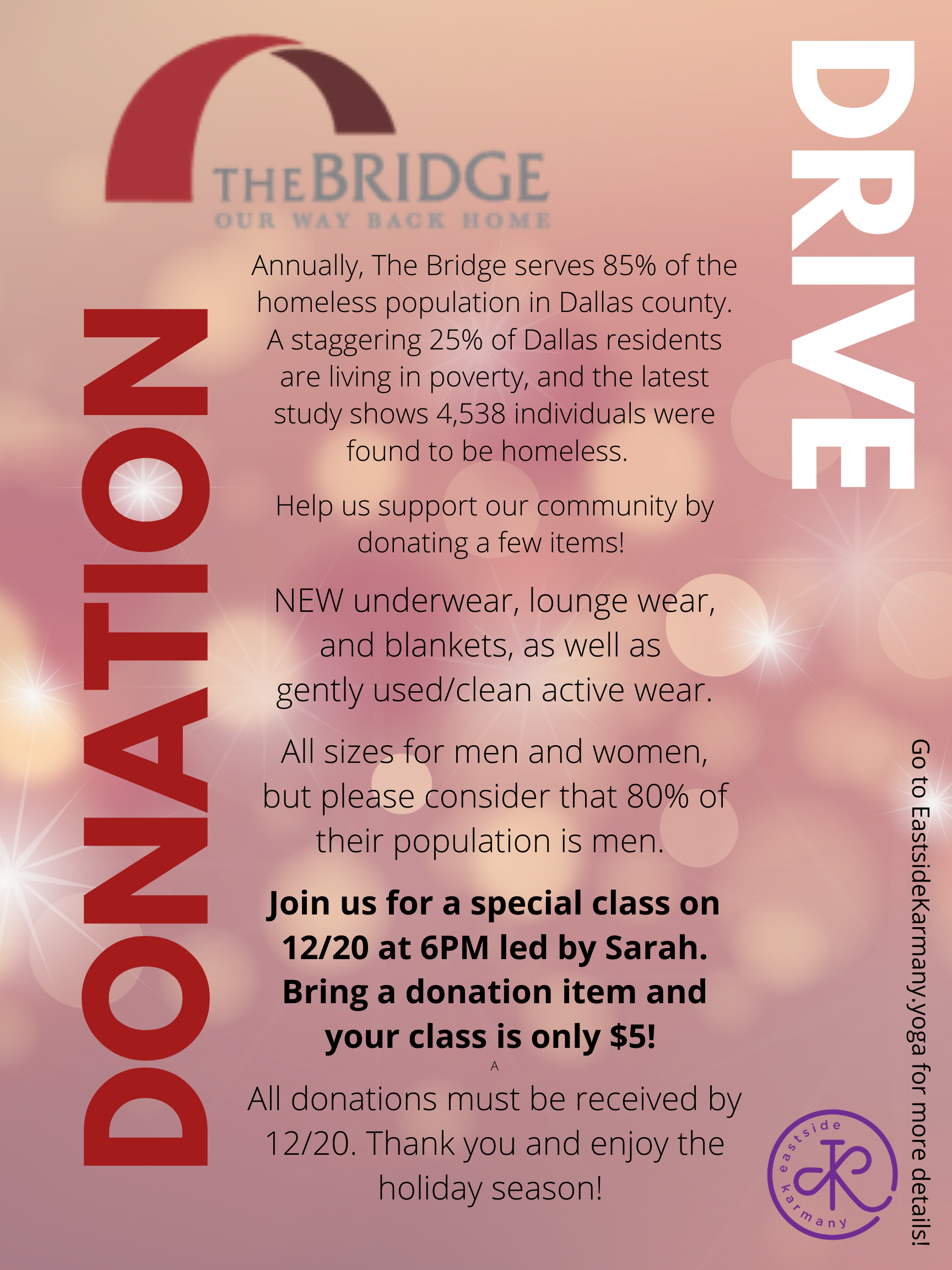 DEC 20: Bridge – Donation Drive Class